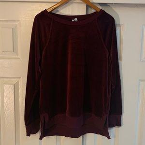 Cable & Gauge Maroon Velvet Sweatshirt Size Large